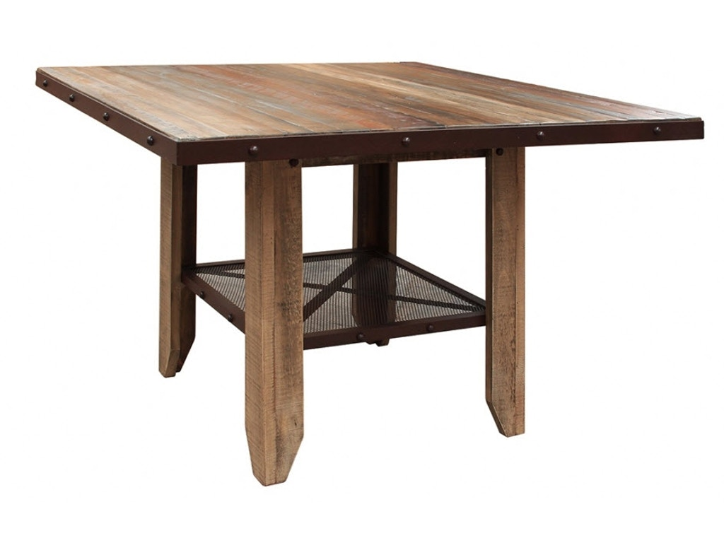 International furniture direct dining room 52 counter height dining table solid wood with iron - Dining rooms direct ...