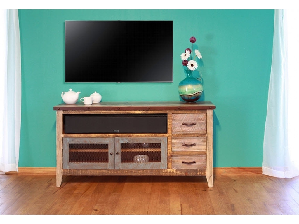 International Furniture Direct Home Entertainment 62 Tv Stand With 3 Drawers And 2 Iron Mesh
