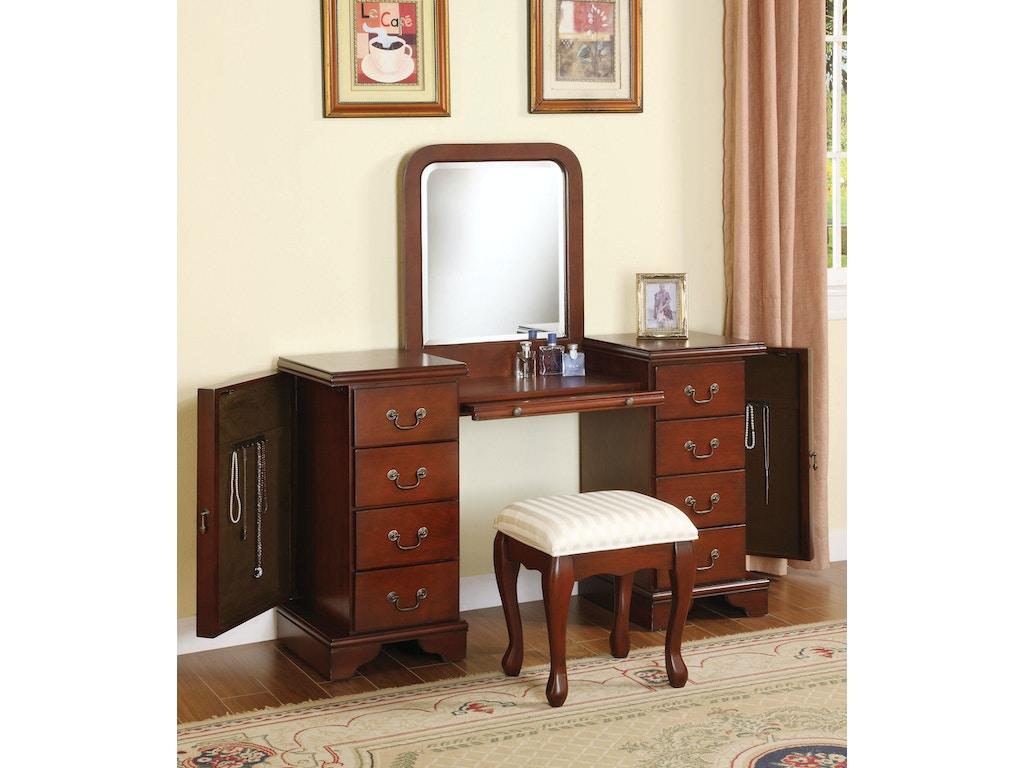 Acme furniture bedroom louis philippe vanity desk stool for Bedroom furniture 28117