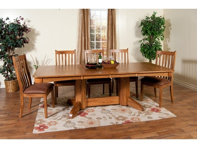 Sunny Designs Sedona Trestle Table With 2 Leaves 1121RO