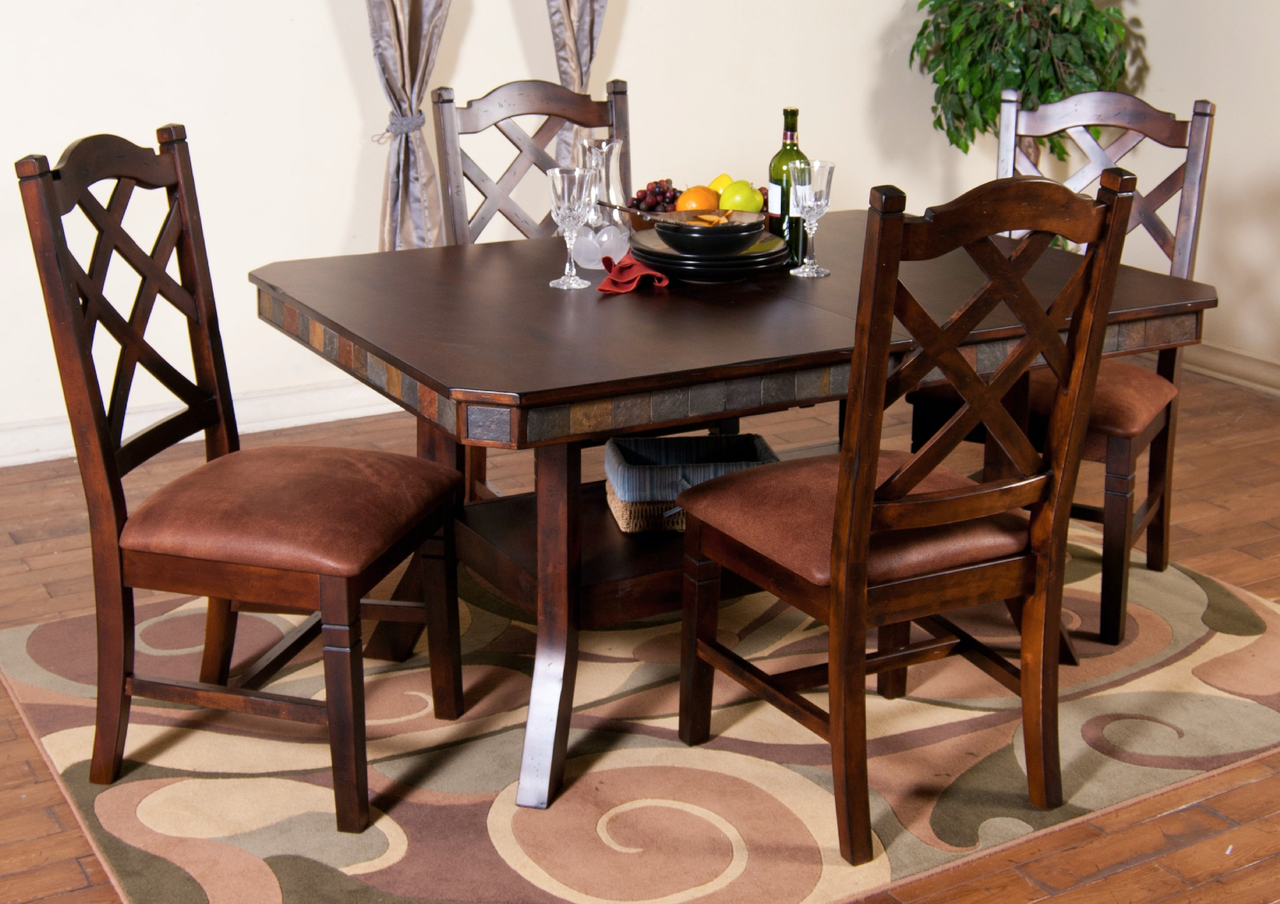 Sunny Designs Santa Fe Adj. Height Dining Table With Dbl Btfly Leaf 1151DC