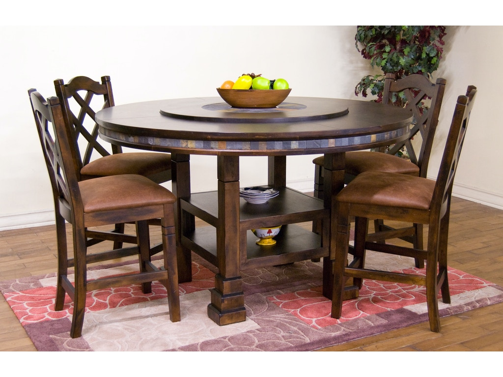Sunny Designs Dining Room Santa Fe Round Table With Lazy Susan ...