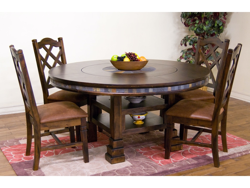 Sunny Designs Dining Room Santa Fe Round Table With Lazy Susan 1225dc Evans Furniture