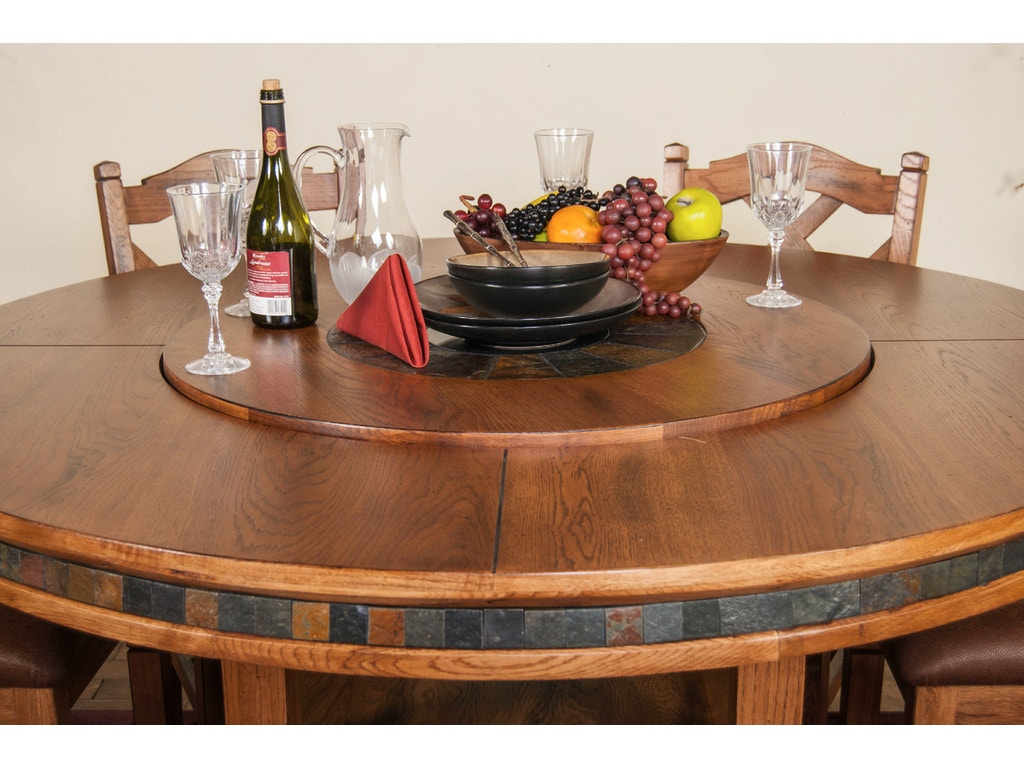 Sunny Designs Dining Room Sedona Round Table With Lazy Susan ...