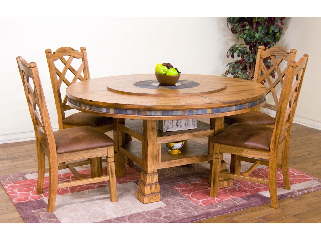 Sunny Designs Dining Room Sedona Round Table With Lazy ...