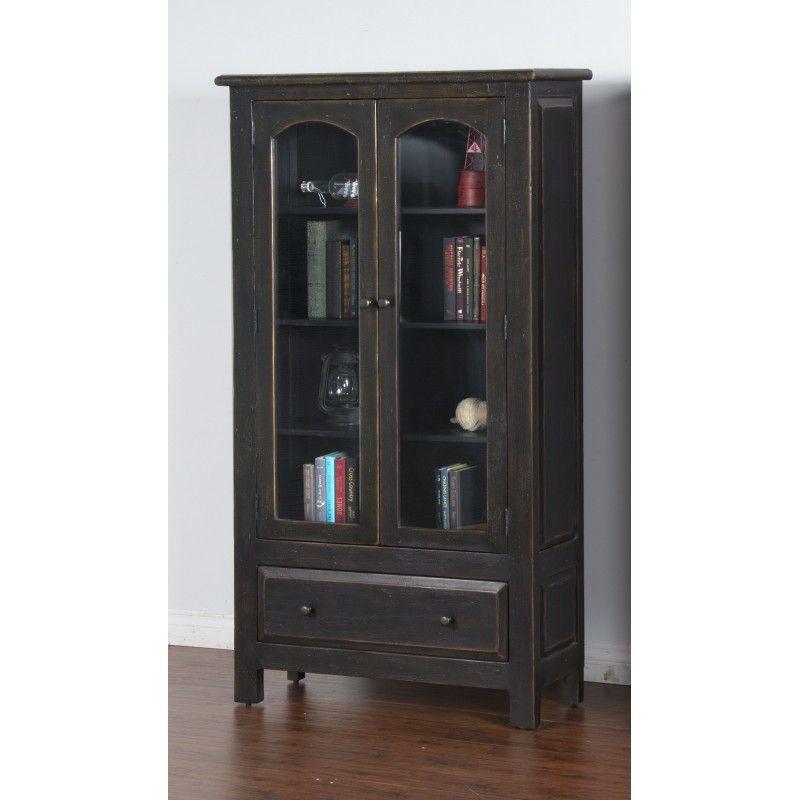 Sunny Designs Living Room Black 2 Door Display Cabinet 2271B-DC2 ...
