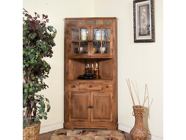 Sunny Designs Living Room Sedona Corner China Cabinet 2451RO - A&W ...
