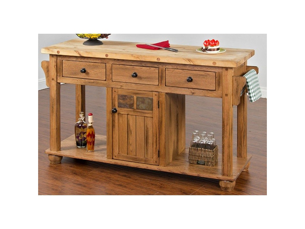 Sunny designs sedona kitchen island table 2522ro evans for Kitchen remodel yuba city ca