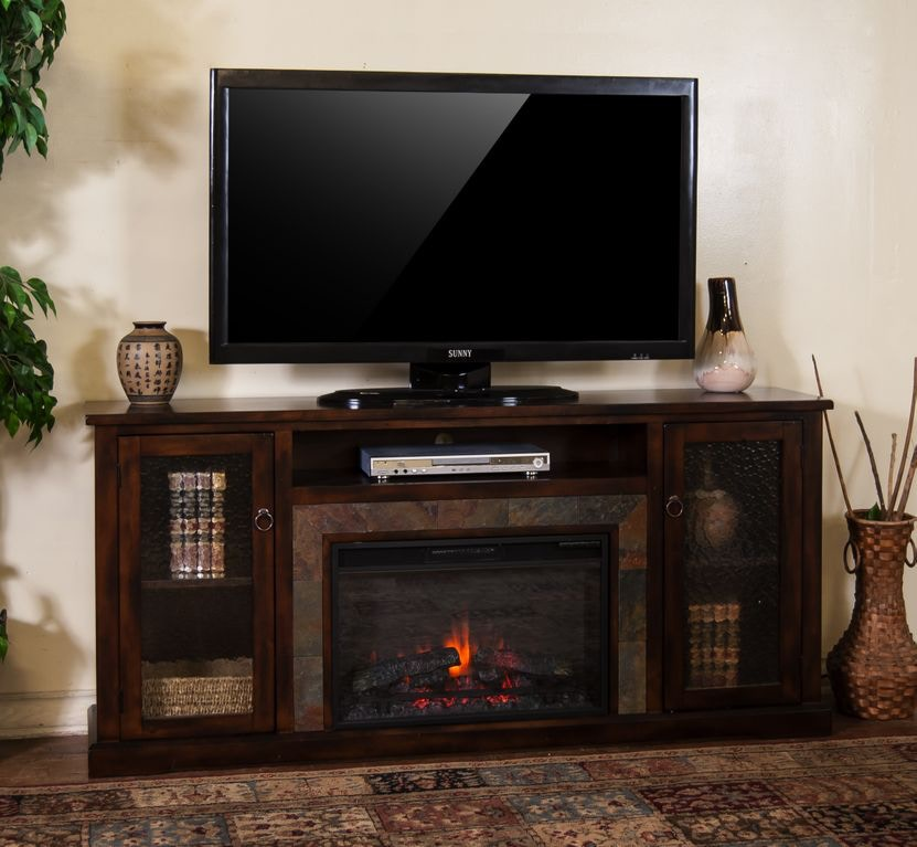 sunny designs dining room santa fe fireplace media console 3488dc
