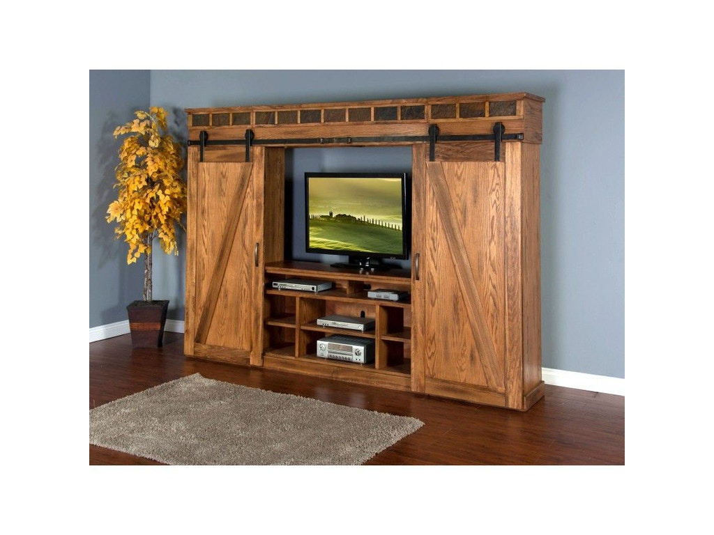 Sunny Designs Home Entertainment Sedona Barn Door Entertainment Wall 3574ro Valley Furniture