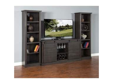 Charred Oak Barn Door TV Console