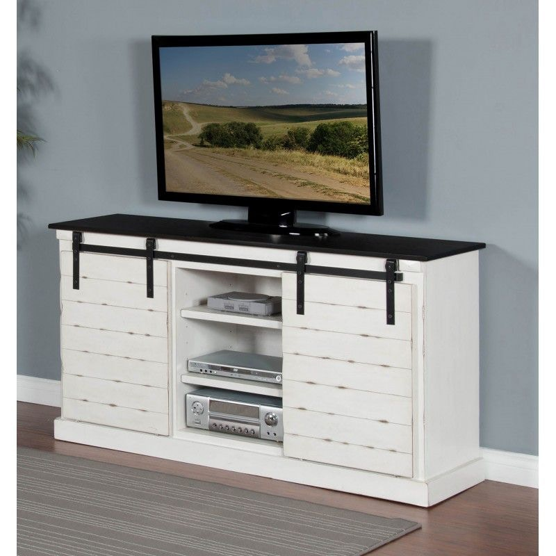 Sunny Designs Home Entertainment French Country Barn Door TV Console