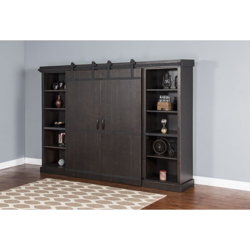 Sunny Designs Charred Oak Barn Door Entertainment Wall 3579CO 1