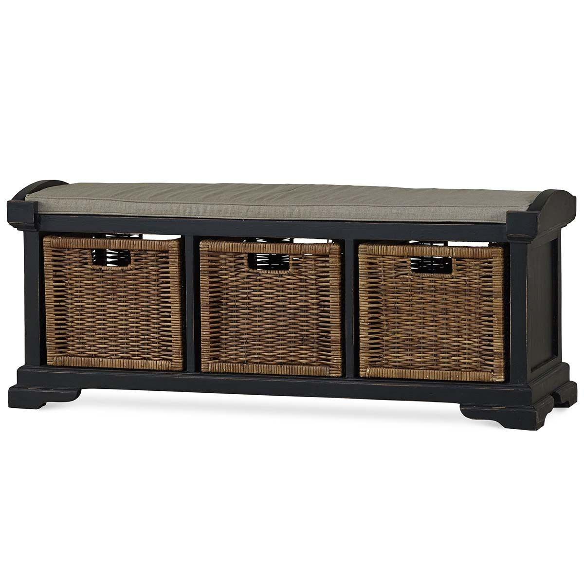 Bramble Homestead Bench With Rattan Baskets 23938