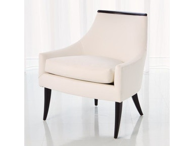 Global Views Boomerang Chair-White Leather 2556