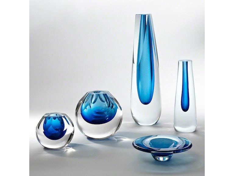 Global Views Accessories Triangle Cut Glass Vase Cobalt 660274