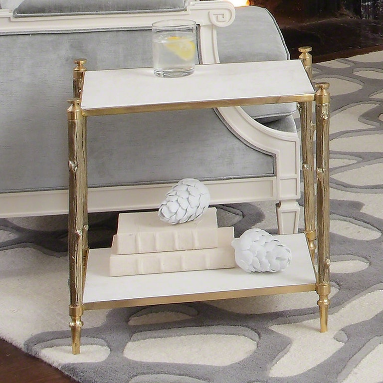 Global Views Link Console: Global Views Arbor Side Table-Brass And White Marble 8