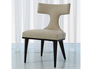 Global Views Anvil Back Dining Chair-Ivory Leather MC-2511