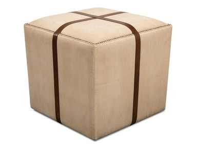 Sarreid Canvas & Leather Stool 29371