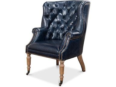 Sarreid Living Room Welsh Blue Leather Chair 29727 North Carolina