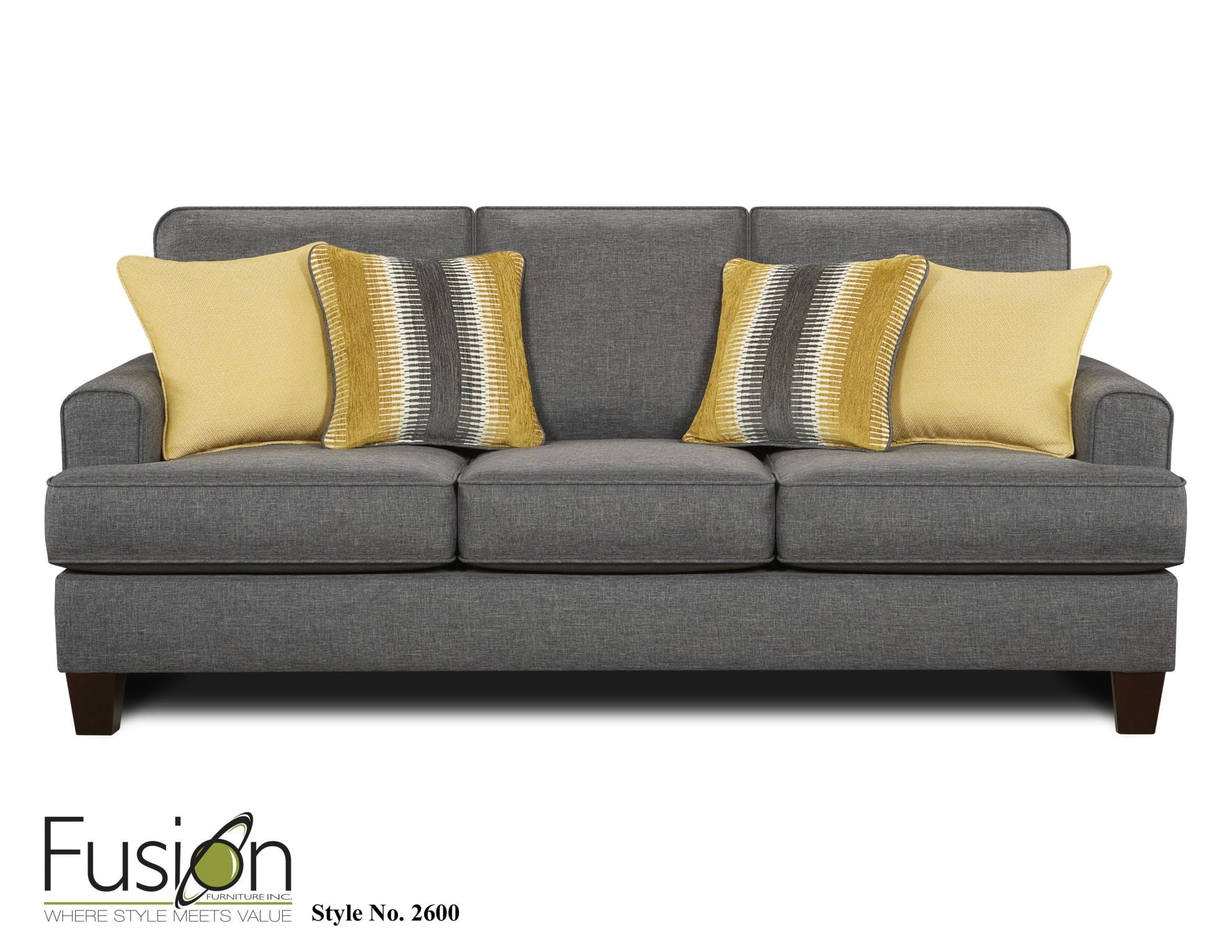 Fusion Living Room Sofa Sleeper 2604Maxwell Gray   FurnitureLand   Delmar,  Delaware