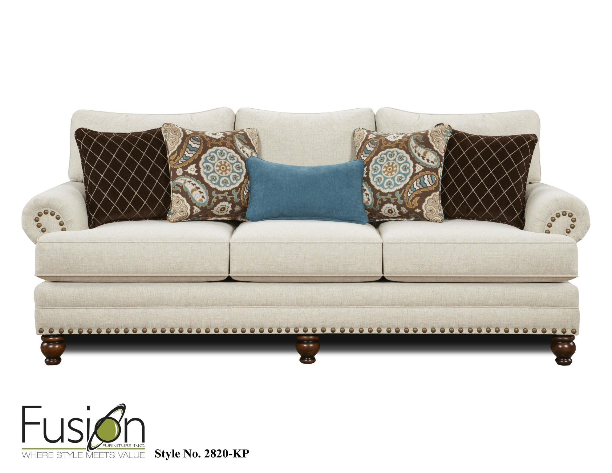 Fusion living room the 2820 kp anna white linen summit for Gallery furniture
