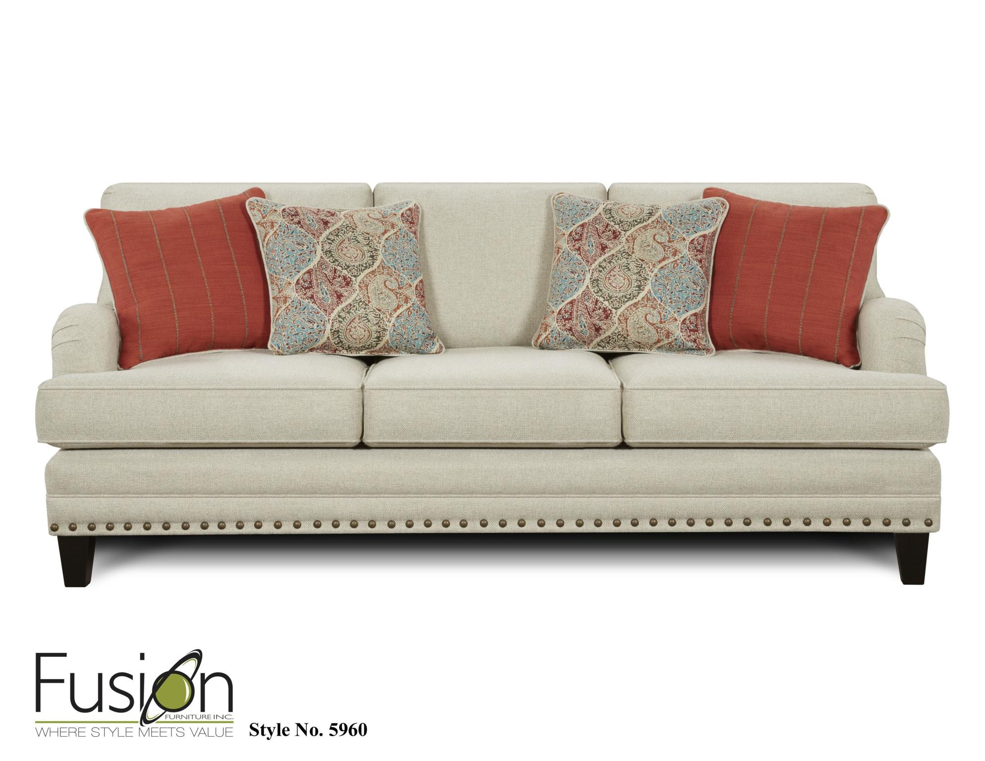 Fusion Living Room Sofa 5960ARIA LINEN At Priba Furniture And Interiors