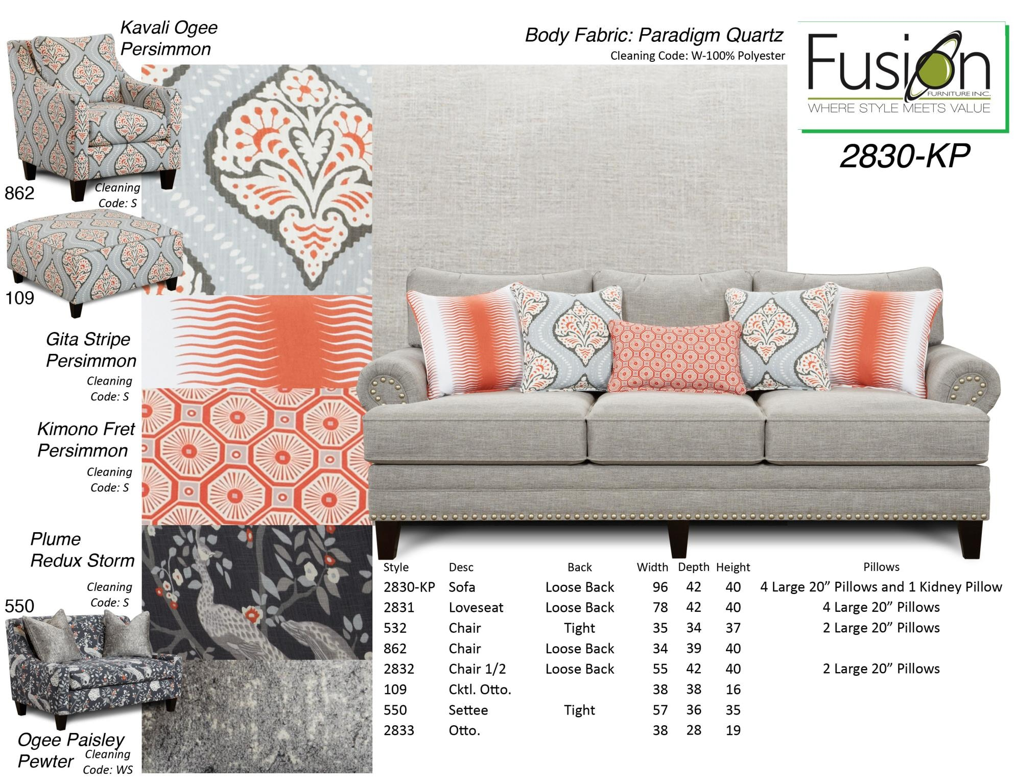 Fusion Sofa 2830 KPPARADIGM QUARTZ