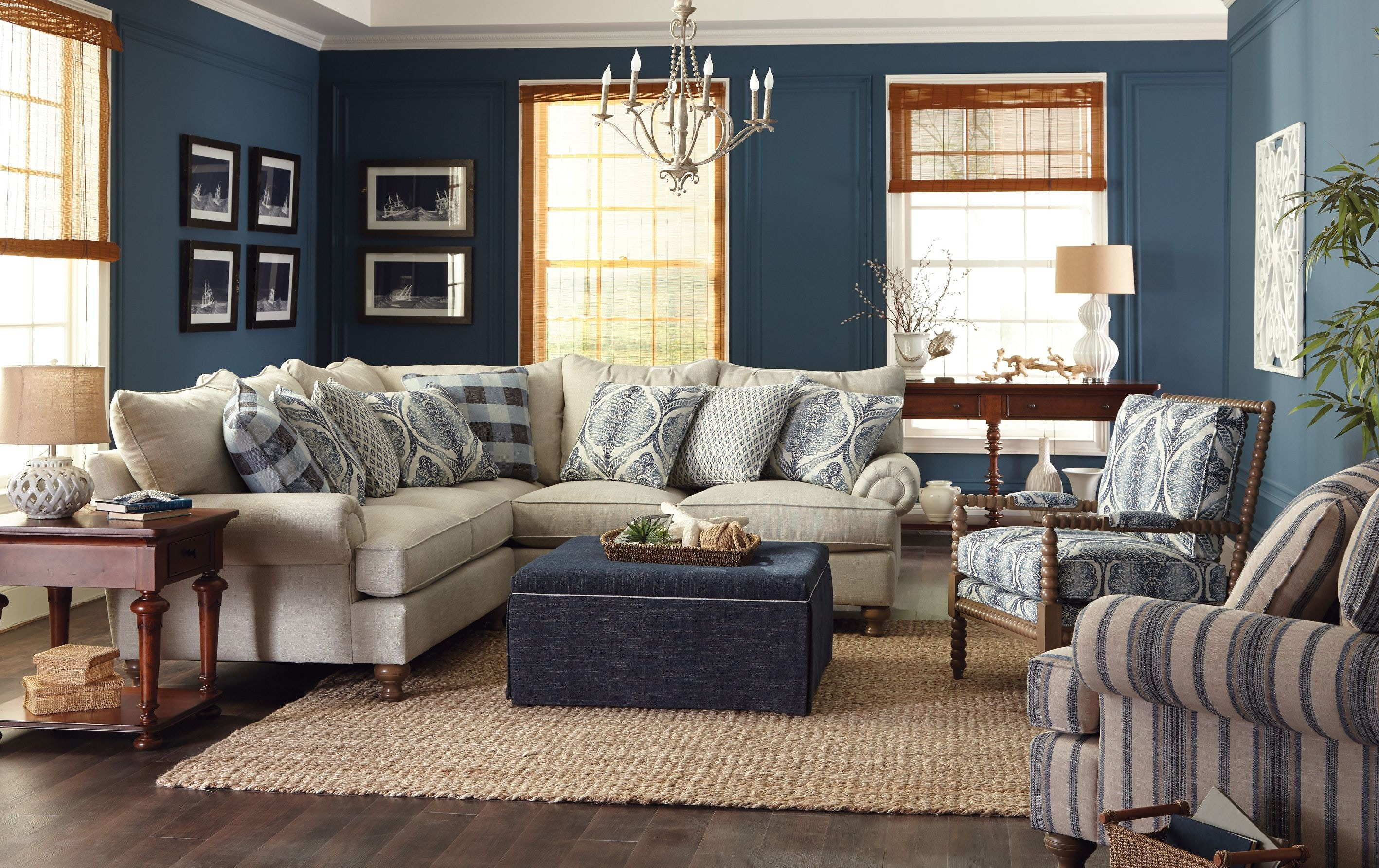 Paula deen by craftmaster living room sectional p7117bd sect craftmaster hiddenite nc for Encore home designs by craftmaster