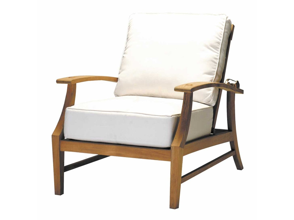 Summer classics outdoor patio croquet teak recliner 28484 for Outdoor furniture kansas city