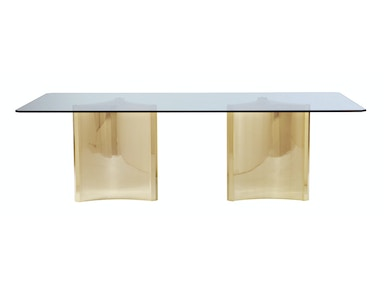 Bernhardt Interiors Dining Room Metal Dining Table with Glass Top