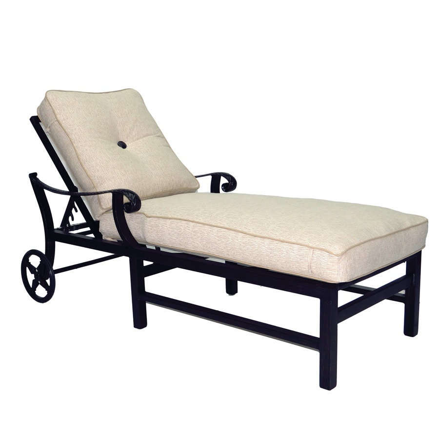 Castelle Outdoor Patio Adjustable Cushioned Chaise Lounge With Wheels 2612T