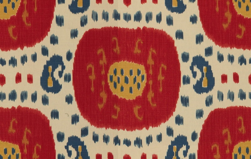 Brunschwig & Fils SAMARKAND COTTON AND LINEN PRINT POMPEIAN RED/OXFORD BLUE BR-71110.147