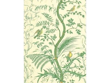 Brunschwig & Fils BIRD AND THISTLE GREEN BR-69518.435