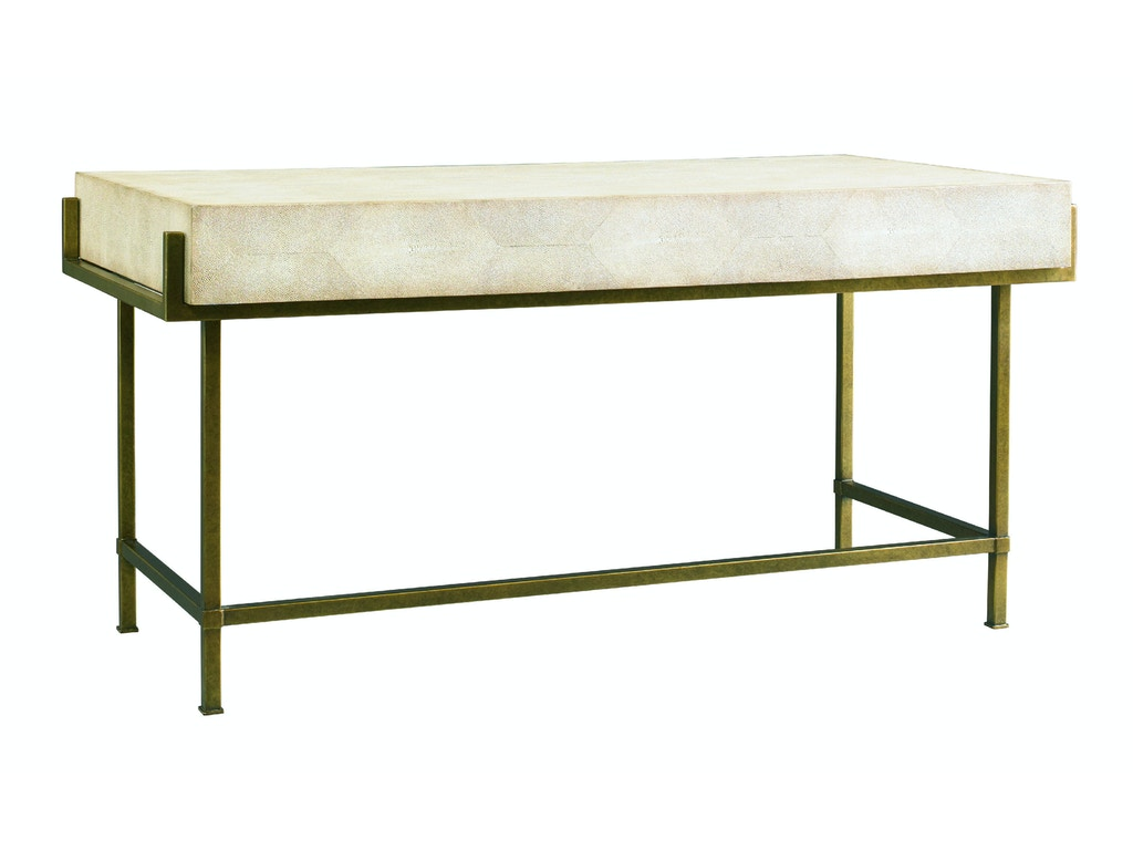 Lillian August For Hickory White Home Office Simone Shagreen Metal Desk LA9