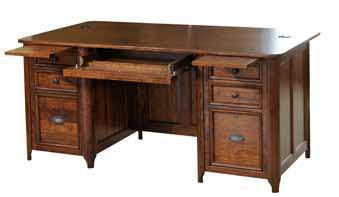 Yutzy Woodworking Home Office Double Pedestal Executive