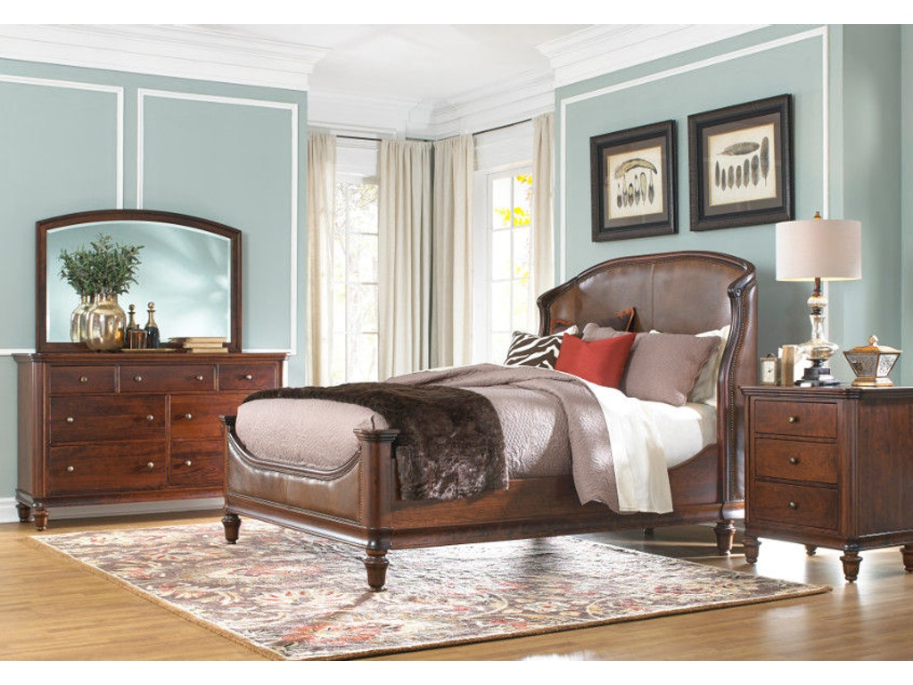 Yutzy woodworking bedroom ancestry leather upholstered bed for Bedroom furniture limerick