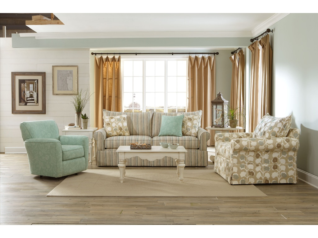 Living rooms with two sofas -  Craftmaster Two Cushion Sofa 973950 68 Sleeper
