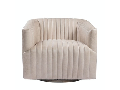 Curations Limited Sete Strip Leather Swivel Arm Chair 7841.3044.GNL