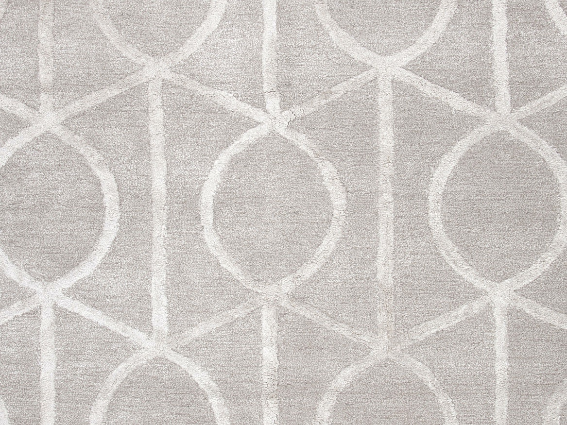 Jaipur Rugs Hand Tufted Geometric Pattern Wool/ Art Silk Taupe/Ivory Area  Rug