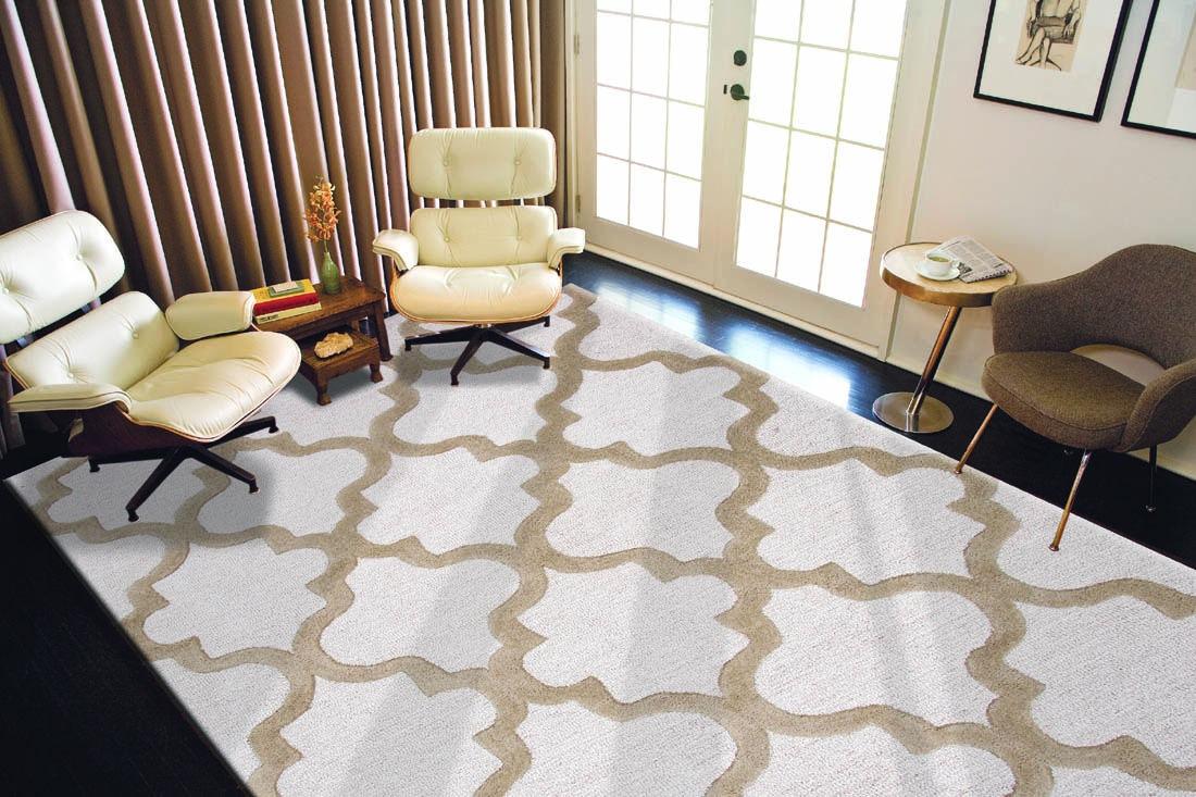 ... Jaipur Rugs Hand Tufted Geometric Pattern Wool Ivory/Taupe Area Rug  CT19 ...
