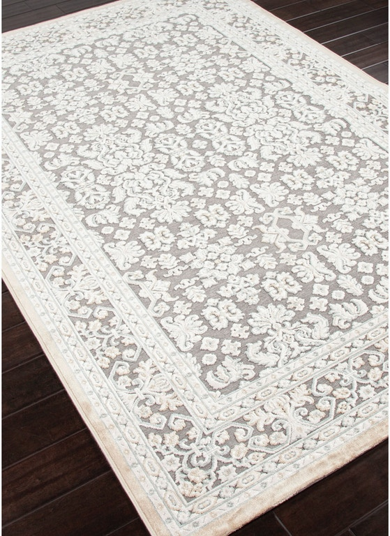Jaipur Rugs Machine Made Oriental Pattern Art Silk Chenille Gray Ivory Area Rug