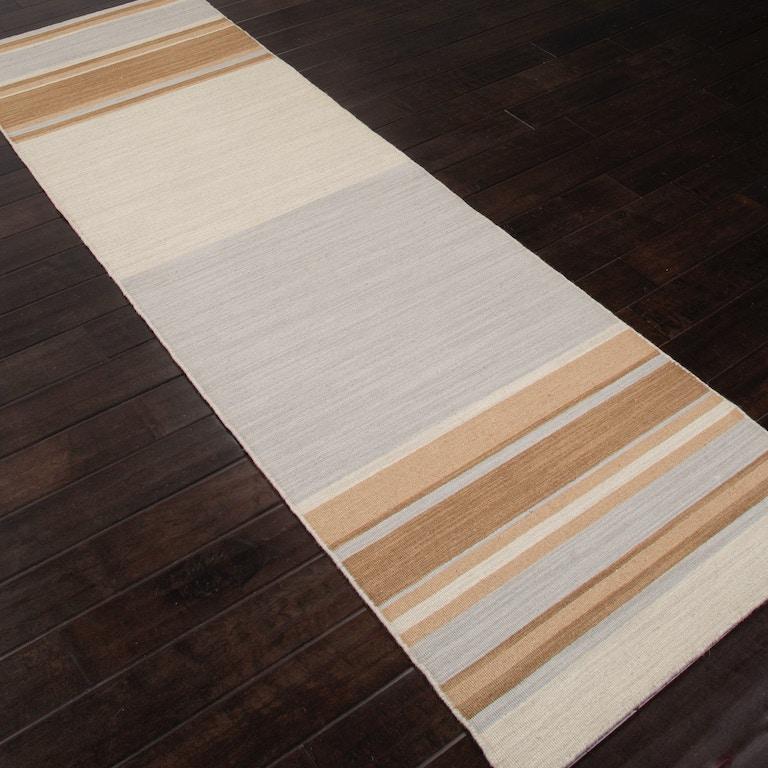 Jaipur Rugs Flat Weave Stripe Pattern Wool Blue Brown Area Rug Pv05