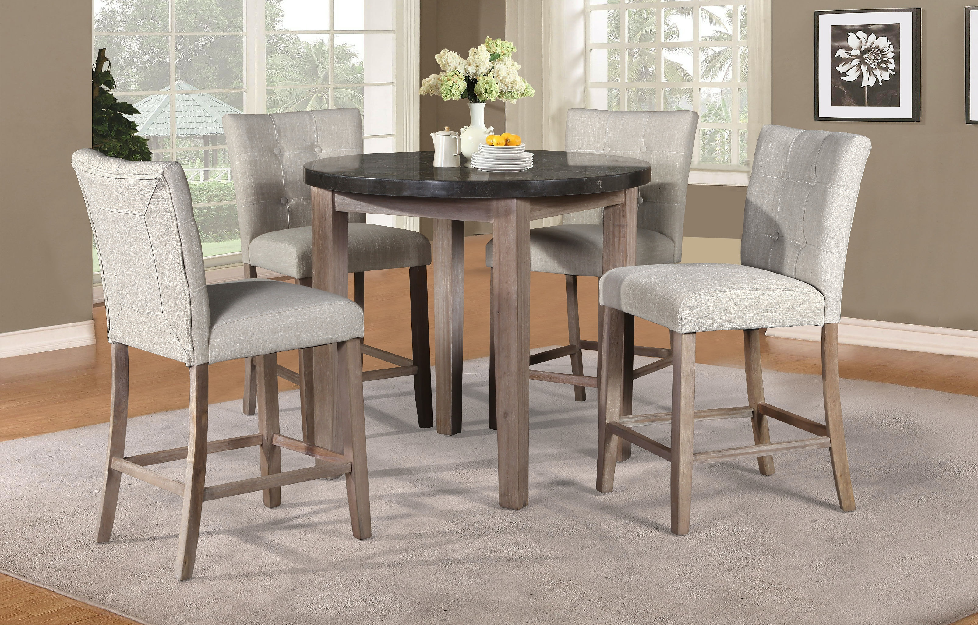 elements international dining room bluestone marble round