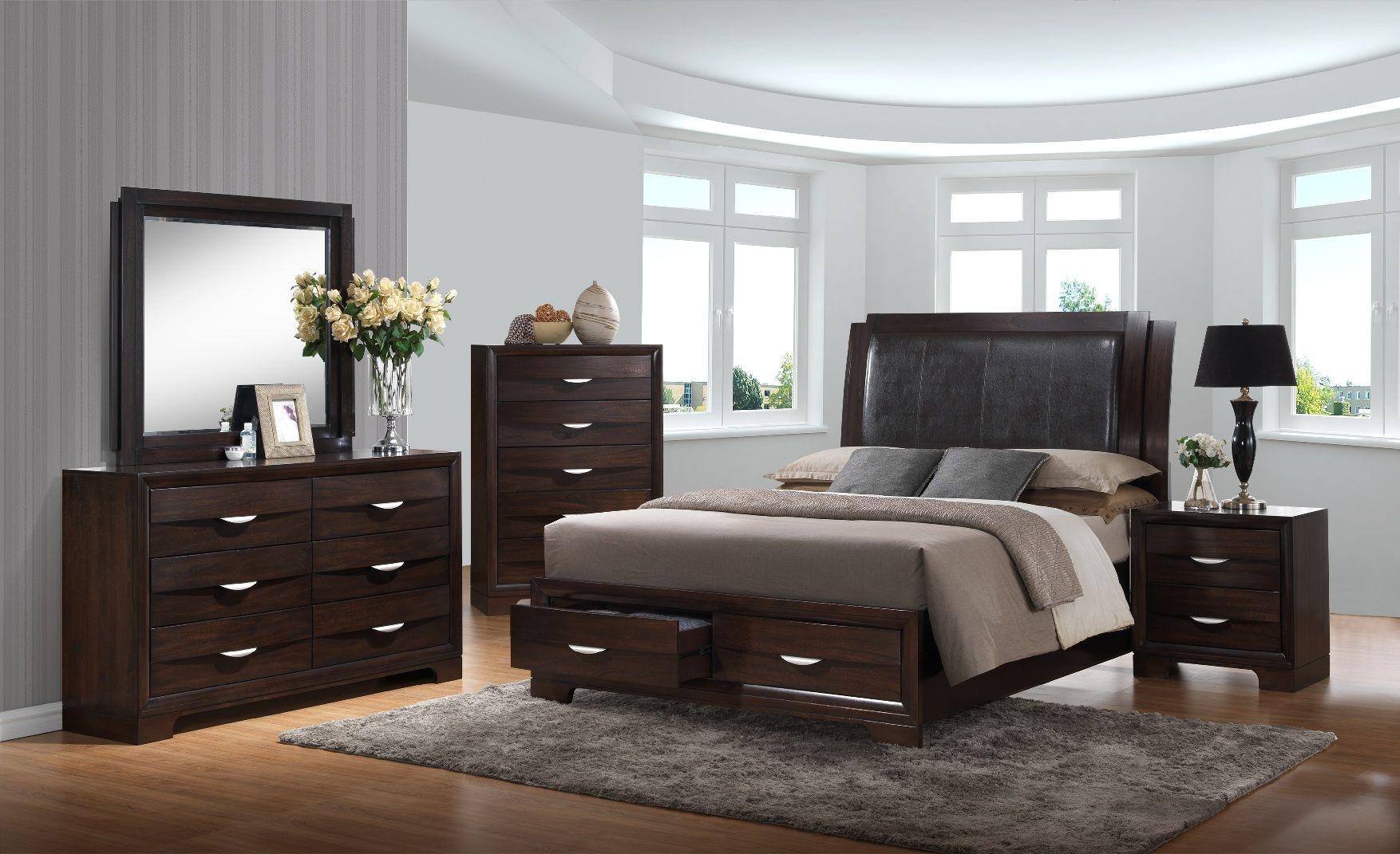 Elements International Brandy Dark Storage Bedroom