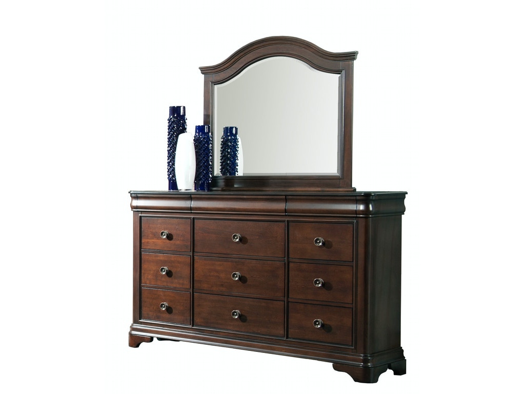 Elements international cameron cherry sleigh bedroom Elements cameron bedroom set
