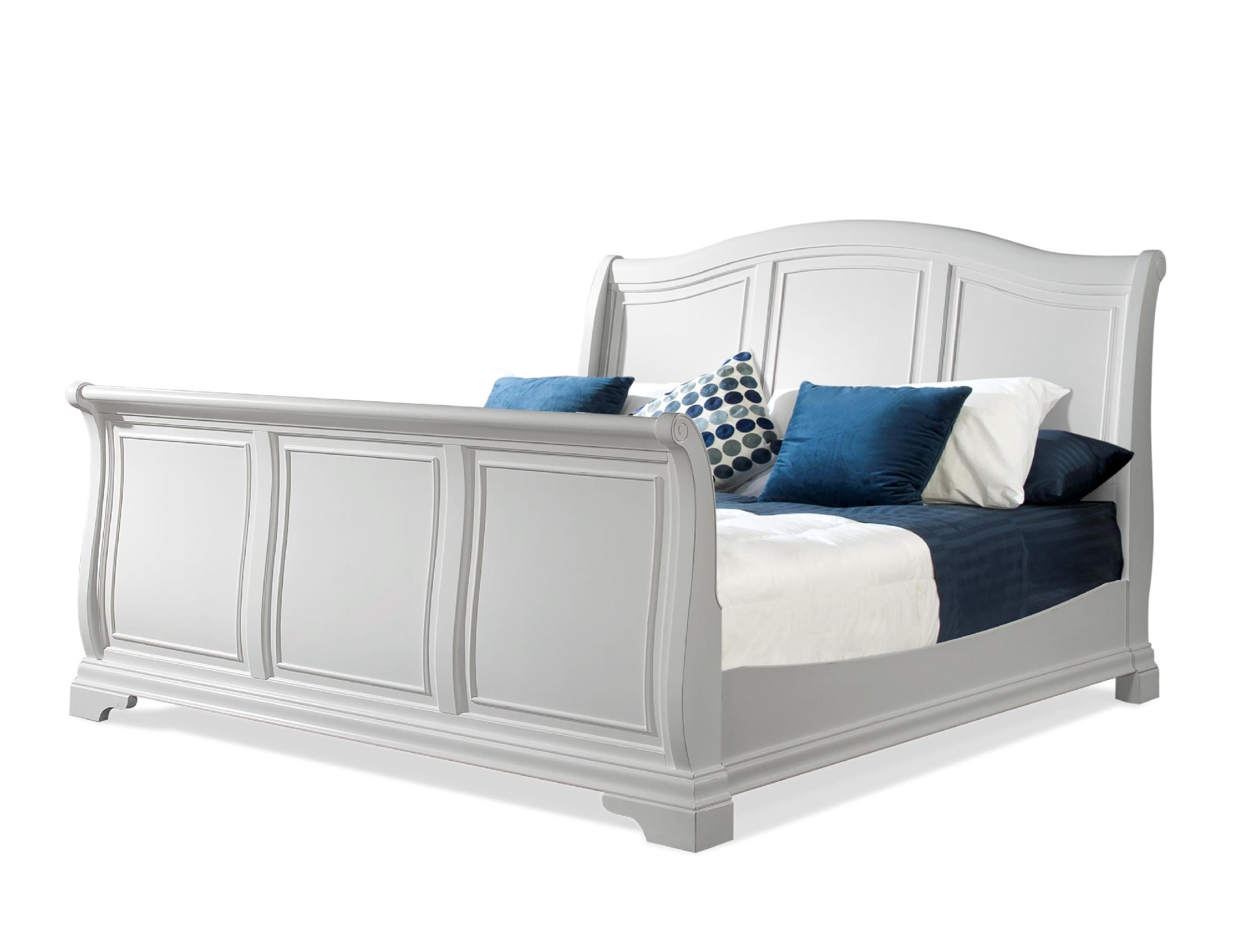 White sleigh bed victorian ivory velvet white bone sleigh Elements cameron bedroom set