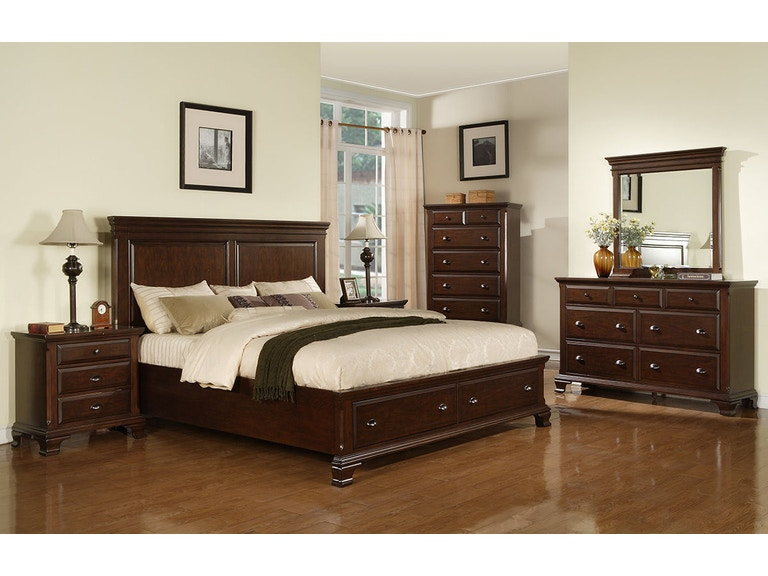 Elements International Bedroom Canton Cherry Storage Bed ...