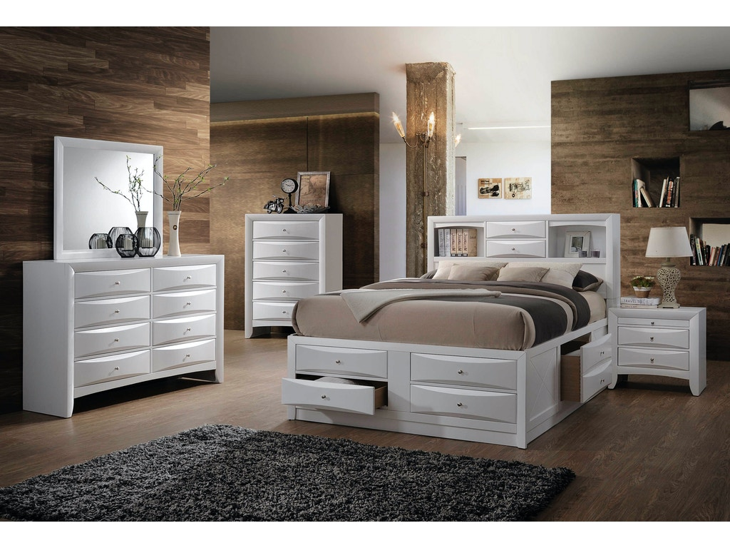 emily bedroom set. Elements International Emily White Storage Bedroom