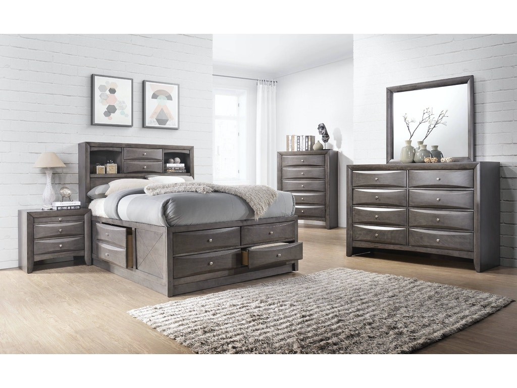 Elements International Emily Grey Storage Bedroom - Gilliam ...